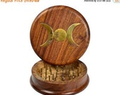 HOLIDAY SALE Wooden Herb Grinder with Brass Triple Moon Inlay