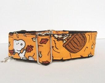 Fall leaves martingale collar (dog collar, greyhound martingale, orange  leaves fall automn comics cotton satin)