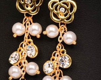 earrings gold tone crystal charms