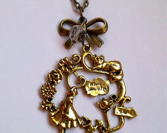 alice in wonderland cat girl bow  necklace