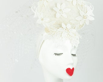 Sorrell Bridal fascinator - white sinamay - medium loveheart - spot veiling- lace flowers - pearls- wedding