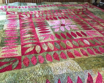 Gorgeous batik pink and green king size appliquéd quilt
