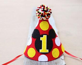 Mickey Mouse 1st Birthday Hat - Boys First Birthday Felt Party Hat - 2nd Birthday