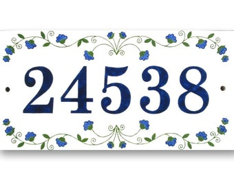 Outdoor House Number, House Numbers sign, Address Numbers, Blue Numbers