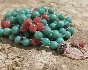 Manifest love, Heart healing and opening. Amazonite and Rhodochrosite 8mm Mala. 108 mala beads. Tibetan prayer beads, Japa Mala