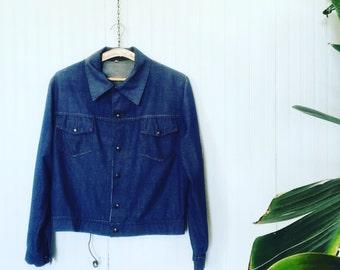 Vintage Men's Denim Jacket / Denim Jacket / Jeans Jacket / Seventies 1970s 70s / Size Large