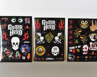 Guitar Hero Sticker Sheets, Set of 3, for Repurposing/Embelishing
