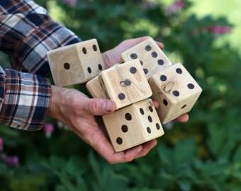 Set of 6 Jumbo Cedar Yard Dice Lawn Dice Outdoor Games Farkle Yatzee Giant Wood Blocks Coworker Gift