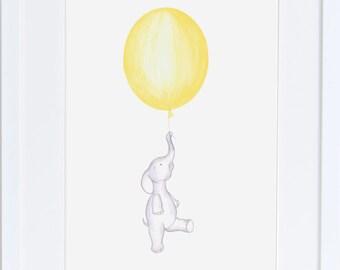Elephant nursery art- cute baby elephant floating with red balloon, nursery decor print  original illustration drawing