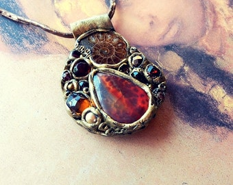 Unique Red Necklace, Red Jasper Pendant, Ammonite Necklace, Artistic Necklace, Red Jewelry, Boho Jewelry, Statement Necklace, Boho Necklace