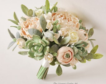 Alternative wedding bouquet Keepsake Wedding bouquet Peach Blush peonies Green Succulents Bridal bouquet Clay flowers weddingl bouquet