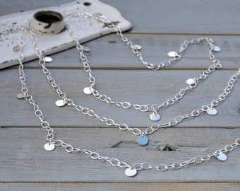 Sterling Silver Tiny Disc Necklace - sterling silver tag necklace - sterling silver discs - tiny silver coin necklace - long tag necklace