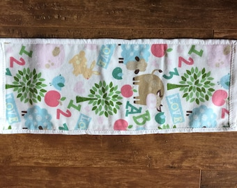 Burp Cloth - Letters Numbers Sheep Birds Pigs & More on White background