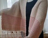 Hand-woven cotton/rayon/acrylic shawl, wrap or table runner in creamy white, pinky mauve, olive green, summer wrap, bell celtic twill