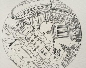 Edinburgh pen drawing