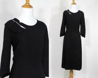 ON SALE Vintage 1940s Dress | 40s Rayon Crepe Cutout Dress with Rhinestones | Black | M L