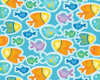 1/2 Yard - Count with Me Fish Blue Fabric by Diane Eichler - 3110 11