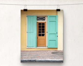 New Orleans Door Photo Print, Orange Yellow Teal, NOLA Architecture