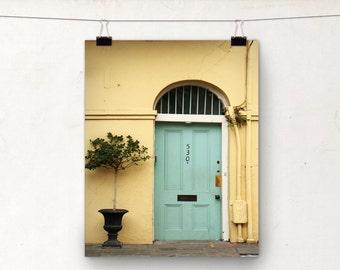 NOLA Architecture, Door Photograph, Art Print, Yellow Teal, New Orleans