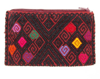 Mexican Embroidered Woven Coin Purse- Colorful- Wallet -Huipil- Handmade- Flowers- Gift Ideas
