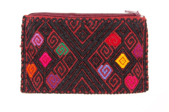 Mexican embroidered woven coin purse colorful wallet