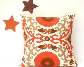 "Orange Decorative Pillow Cover, 18"" x 18"" Brown Taupe Cream Pillow, Nate Berkus Accent Throw Pillow, Cushion Cover, Modern Pillow"