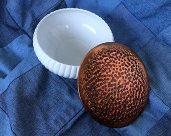 Milk Glass Bowl, Copper Tone Metal Cover, Ribbed Glass, Pounded Cover, Vintage 1970s, Candy Dish, Catch All, Gift Idea
