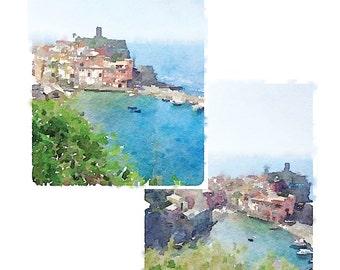 Cinque Terre Printable Artwork Set: Cinque Terre watercolor, Vernazza Italy watercolor, Italy landscape, Italian sea, Italy beach, seascape
