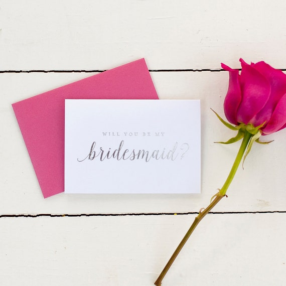 Silver Foil Will You Be My Bridesmaid card bridesmaid proposal bridal party gift bridesmaid gift wedding party card bridesmaid invitation