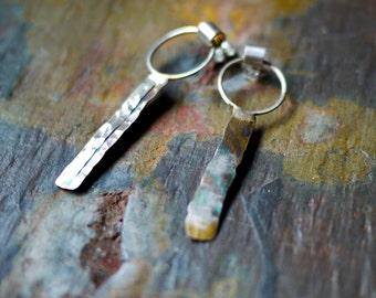 Sterling Silver Earrings,  Dangling Earrings, Post Earrings, Rustic Earrings, Organic Earrings, Hammered Earrings, Circle Earrings