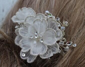 Bridal Flower Rhinestone Hair Comb/ Hair Jewelry