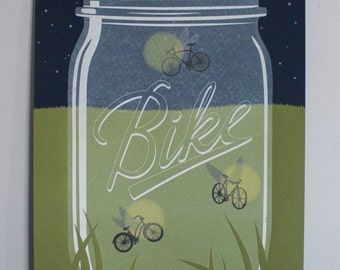 """Bicycle Poster-- 18x24 inch """"Bike Lights"""" Limited Edition Mason Ball Jar poster Screenprint on French Paper"""