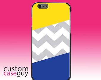 Hard Snap-On Case for Apple 5 5S SE 6 6S 7 Plus - CUSTOM Monogram - Any Colors - Blue Yellow Block Grey Chevron