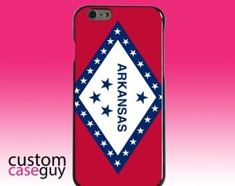 Hard Snap-On Case for Apple 5 5S SE 6 6S 7 Plus - CUSTOM Monogram - Any Colors - Arkansas State Flag