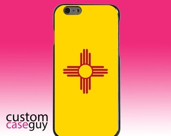 Hard Snap-On Case for Apple 5 5S SE 6 6S 7 Plus - CUSTOM Monogram - Any Colors - New Mexico State Flag