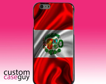 Hard Snap-On Case for Apple 5 5S SE 6 6S 7 Plus - CUSTOM Monogram - Any Colors - Peru Waving Flag
