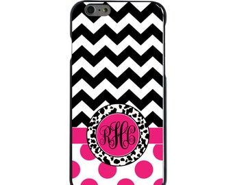 Hard Snap-On Case for Apple 5 5S SE 6 6S 7 Plus - CUSTOM Monogram - Any Colors - Black White Pink Chevron Polka Dots