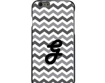 Hard Snap-On Case for Apple 5 5S SE 6 6S 7 Plus - CUSTOM Monogram - Any Colors - Grey White Black Chevron