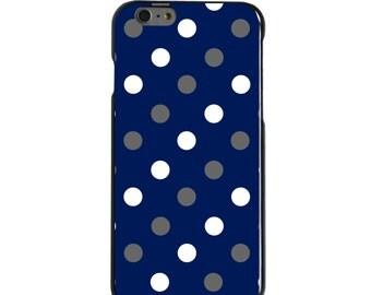 Hard Snap-On Case for Apple 5 5S SE 6 6S 7 Plus - CUSTOM Monogram - Any Colors - Duke University Blue Devils Colors - Polka Dot Pattern