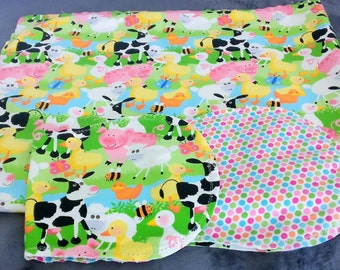 Farm Animals Cow Ducks with Poke Dot Backing Hemstitched Baby Blanket and Burps ready for you to crochet by Lindas Hemstitching