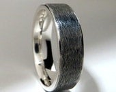 Men's Wedding Ring Black Sterling Silver Flat Profile Band Rustic Subtle Texture Band 6mm Made To Order Free Shipping