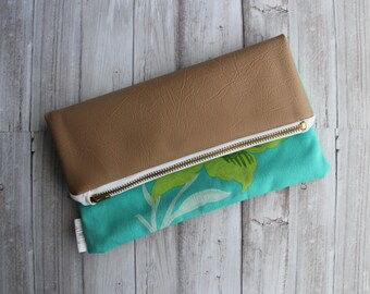 SALE - Green Flower Fold Over Clutch