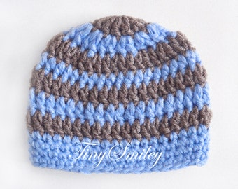 Striped Baby Boy Hat, Blue and Brown Hat, Baby Boy Hat, Hospital Boy Hat, Baby Boy Outfits, Newborn Boy Hat, Infant Hats, Baby Boy Beanie