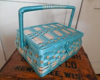Sweet Vintage Plastic Wicker Petite Sewing Basket...Blue Gingham