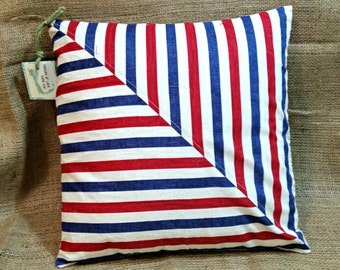 Red White and Blue Striped Pillow - 14 x 14
