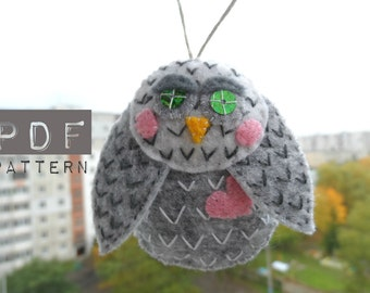 An OWL sewing pattern PDF Owl ornament, brooch. Sewing owl Download