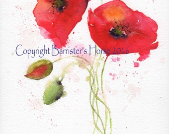 RED POPPIES, fine art, Giclee Watercolour Painting Print A4. Archival quality inks