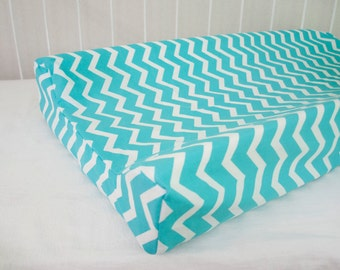 SALE! 30% OFF! White and Turquoise Chevron  Changing Pad / Mat Cover