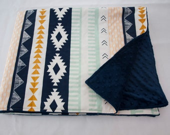Arizona Aztec Gold, Mint, and Navy  Blue Tribal Baby Crib Cot Blanket