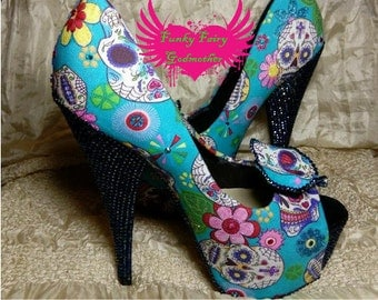 Skullys - customised shoes, retro shoes, retro heels, rockabilly shoes, quirky shoes, quirky heels, vintage heels, vintage shoes,
